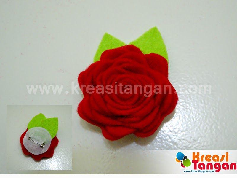 Cara Membuat Bros Dari Kain Flanel Berbentuk Bunga Mawar yang Indah