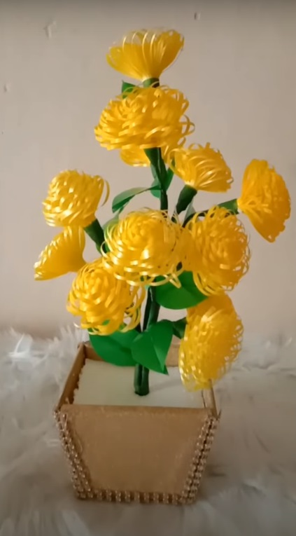 kerajinan bunga cantik dan pot dari pita jepang 2020