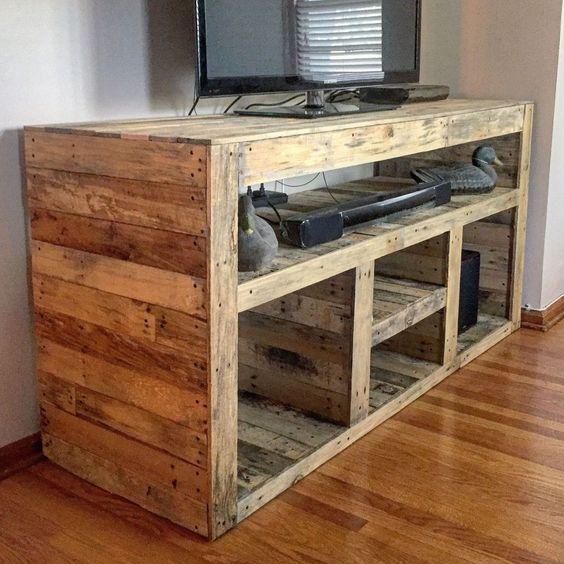 kerajinan rak tv dari kayu bekas 2020