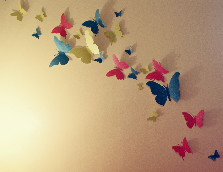 variasi kupu kupu warna warni dari kertas origami untuk hiasan dinding 2020